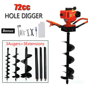 72cc Engine 4hp Gas Powered One Man Post Hole Digger 3 Auger Bits 3 Extension