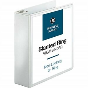 Business Source 3 inch Slant Ring View Binder White