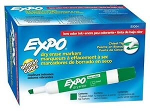 Expo 80004 Low odor Dry Erase Markers Chisel Tip Green 12 count