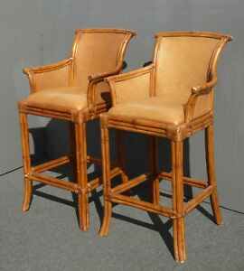 Pair Vintage Tiki Palm Beach Style Rattan Brown Leather Bar Stools