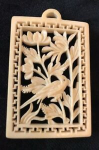 Antique Japanese Natural Carving 2 Sided Plaque Pendant Bird Flowers 2 3 4 L
