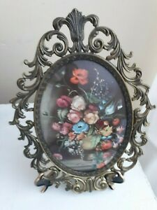 Vintage Large Floral Picture Ornate Oval Metal Frame Convex Glass Italy