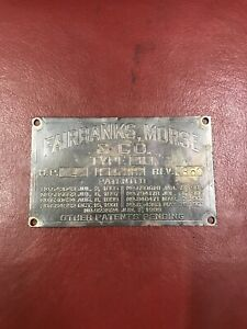 Original Brass Fairbanks Morse Type H Antique Hit And Miss Gas Engine Name Plate
