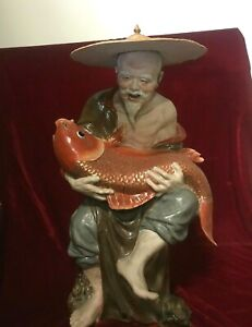 28 Old Chinese Porcelain Fisherman Holding Fish Statue Very Detail