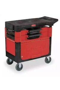 Rubbermaid Commercial Trademaster Utility Cart Red Black Cabinet Mechanic Work