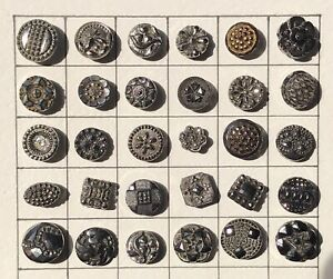 Stunning Lot Of 30 Mounted Antique Black Glass Buttons Silver Luster Diminutive