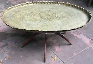 Vintage Mid Century Moroccan Brass Tray Wood Spider Leg Oval Coffee Table