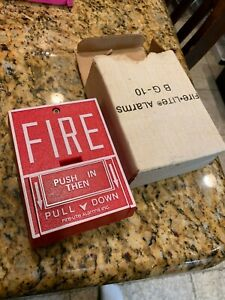 nib new Fire lite Hr 10 Fire Alarm Halon Release Pull Station Bg 10