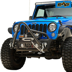 Eag Stinger Front Bumper Stubby With Winch Plate For 07 18 Jeep Jk Wrangler