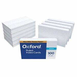 Oxford Ruled Index Cards 4 X 6 White 1 000 Cards 10 Packs Of 100 41