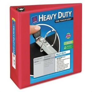 Heavy duty View Binder With One Touch Ezd Rings 4 Capacity Red 3 Pack