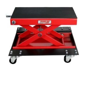 Car Lifting Tool 1100 Lb Wide Motorcycle Scissor Jack Durable Steel With Dolly