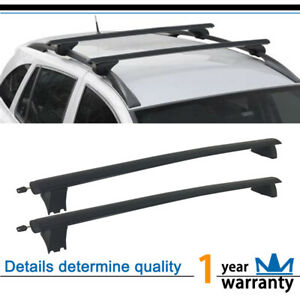 2pcs Blk Aluminum Oe Roof Rack Cross Bars Luggage Cargo Carrier Rail Fit Jeep