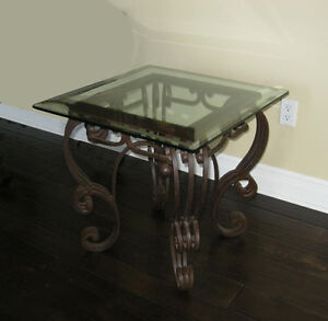 Scrolled Spanish Style Ornate Solid Wrought Iron Glass Top End Table