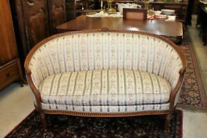 French Walnut Antique Louis Xvi Sofa Love Seat Bench Living Room Furniture