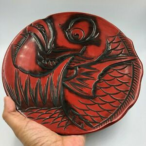 Red Round Flower Plate Dish Japanese Wooden Lacquer Ware Fish Sculpture Signed