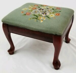 Antique Louis Xvi Footstool Carved Mahogany Needlepoint French Vintage