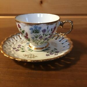 Vintage Royal Sealy China Wildflower Cup And Saucer