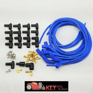 8 5mm Blue 135 45 Degree Spark Plug Wires Hei Chevy Sbc Bbc Ford Mopar 350 V8
