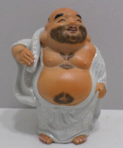 Chinese Laughing Buddha Fine Porcelain Pottery Stamped