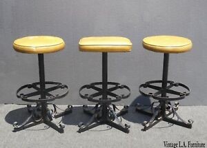 Set Of Three Vintage Iron Spanish Style Yellow Bar Stools Mid Century Modern