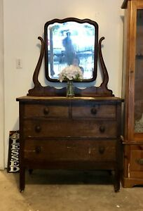 1920s Antique Oak Vanity Four Drawer Dresser With Mirror