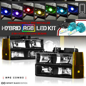 remote Color Led Low Beam 94 98 Gmc Sierra Yukon 1500 2500 Signal Head Lights