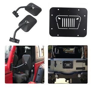 Door Off Mirrors Tailgate Spare Tire Delete Plate For 07 2018 Jeep Wrangler Jk