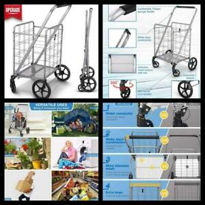 Heavy Duty Grocery Utility Flat Folding Shopping Cart Rolling Swivel Storage New