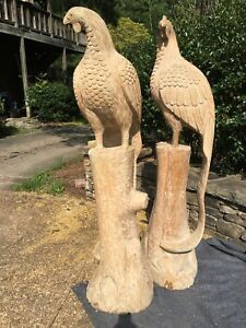 Antique Wooden Birds Hand Carved Very Tall