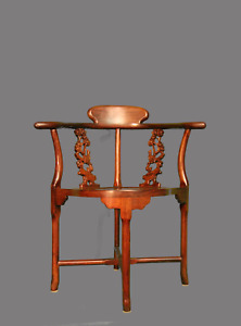 Fine Vintage Asian Chinoiserie Rosewood Corner Arm Chair