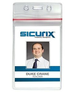 Sicurix Zip Closure Sealable Id Badge Holders Vertical 50 Pack Clear