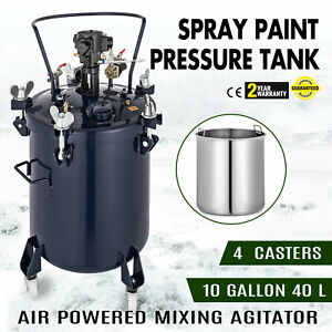 10gallon 40l Spray Paint Pressure Pot Tank 4 Casters Adhesives 1 4 Air Inlet