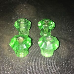 Lot Of 4 Small Antique Glass Cabinet Pull Knobs Clear Green