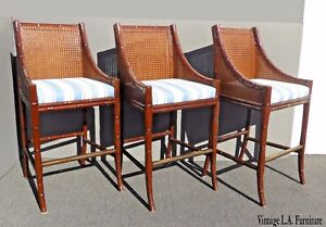 Set Of Three Vintage Palecek Faux Bamboo Rattan Style Cane Back Bar Stools