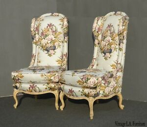 Vintage Pair Of Designer French Country Floral Tall Back Wingback Chairs