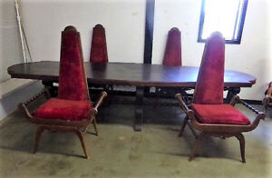 Antique 11ft Lodge Table 6 Barley Twist Carved Throne Chairs W Red Velvet Fabric
