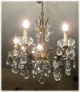 Vintage Italian Tole Petite Chandelier With Prisms