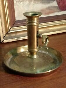 Antique Brass Push Up Candlestick Holder Vintage Chamberstick Made In Denmark