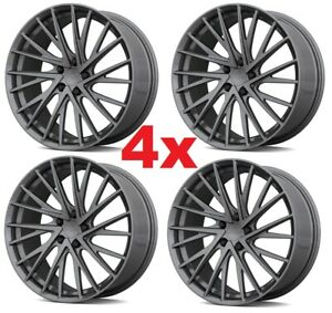 17 Inch Custom Mag Alloy Wheels Rims Silver Dark Gray Graphite 5x110 5 Lug 4