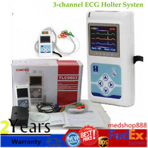Tlc9803 3 channel 24h Ecg Ekg Holter Analyze System Recorder Monitor Lab Ce New