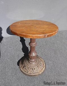 Vintage Farmhouse Rustic Style Oak Top Cast Iron Base Side Table Industrial