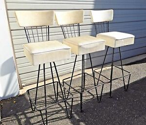 Three Vintage Frederick Weinberg Mid Century White Swivel Bar Stools 1950 S