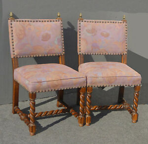 Pair Vintage Spanish Mission Style Barley Twist Mauve Accent Chairs Floral