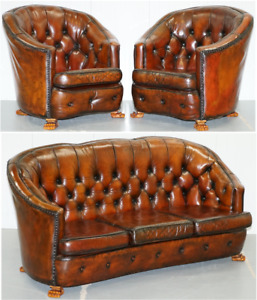 Brown Leather Curved Back Chesterfield Suite Sofa Armchairs Lion Hairy Paw Feet