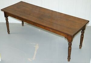 Very Rare Victorian Jas Shoolbred Co Three Plank Walnut Refectory Dining Table