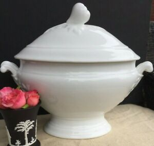 Last One Available Antique French White Porcelain White Ironstone Tureen