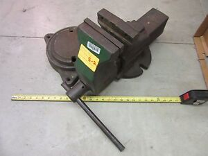 Anchor Bench Vise 1945 6 Clamp Shop Garage Metal Wood Military Heavy Duty Used