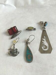 Scrap Jewelry Lot Sterling Silver Single Earrings