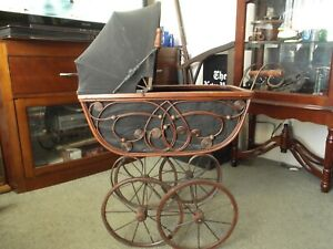 Antique Wicker Baby Toy Carriage Stroller Iron Frame Wheels
